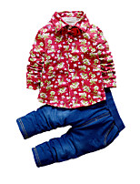 Boy's Casual/Daily Print Clothing Set,Cotton Fall Blue / Red