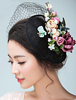 Women's Satin / Flax Headpiece-Wedding / Special Occasion Fascinators / Hats / Birdcage Veils 1 Piece With Flowers