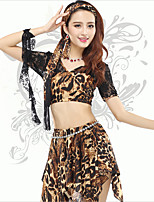 Belly Dance Tops Women's Training Spandex Leopard 1 Piece Leopard Print Belly Dance Short Sleeve Natural Top
