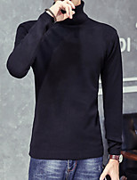 Men's Solid Casual Pullover,Wool Long Sleeve Black / Brown / Gray