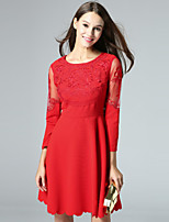 KLIMEDA  Women's Casual/Daily Cute A Line Dress,Embroidered Round Neck Above Knee ¾ Sleeve Red Polyester Fall