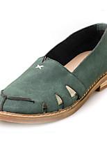 Mujer-Tacón Plano-Punta Redonda / Bailarinas-Zapatos de taco bajo y Slip-Ons-Casual-PU-Negro / Blanco