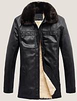 Men's Long Sleeve Casual / Work Jacket,Polyester Solid Black / Brown