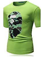 Masculino Camiseta Algodão / Poliéster Estampado Manga Curta Casual / Esporte-Preto / Azul / Verde / Colorido / Branco