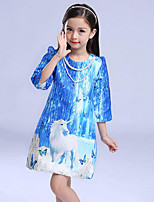 Girl's Going out Print Dress,Cotton Winter / Spring / Fall Blue
