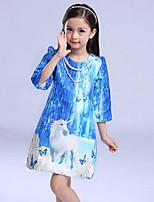Vestido Chica de-Noche-Estampado-Algodón-Invierno / Primavera / Otoño-Azul