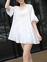 Women's Casual/Daily / Plus Size Simple Loose Dress,Solid V Neck Above Knee Short Sleeve White Cotton Spring / Summer Mid Rise Inelastic