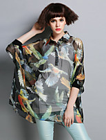 Boutique S Women's Going out Street chic  Blouse,Animal Print Shirt Collar ½ Length Sleeve Black Polyester Translucent