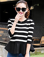 Women's Going out / Casual/Daily Cute / Street chic Regular Pullover,Striped Red / Black Round Neck Long Sleeve