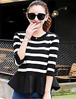 Damen Standard Pullover-Ausgehen / Lässig/Alltäglich Niedlich / Street Schick Gestreift Rot / Schwarz Rundhalsausschnitt Langarm Baumwolle