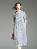 Klimeda Women's Casual/Daily Simple Shift Dress,Embroidered Round Neck Midi ½ Length Sleeve Polyester Fall