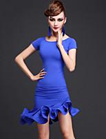 Latin Dance Dresses Women Rayon / Chinlon Ruffles 1 Piece Black / Fuchsia / Purple / Royal Blue Performance Short Sleeve
