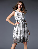 Women's Plus Size / Going out Sophisticated Sheath Dress,Jacquard Round Neck Knee-length Sleeveless White Polyester