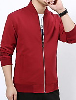 Men's Long Sleeve Casual Jacket,Cotton Solid Black / Blue / Red