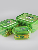 3 pcs Set Rectangular Plastic Food Containers Plastic Boxes