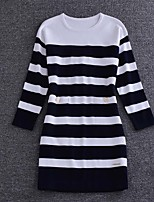 Boutique S Going out / Casual/Daily / Holiday Sexy / Cute Loose Dress,Striped Round Neck Above Knee ¾ Sleeve Blue