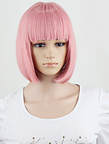 Wigs Fashion Women Party Sexy Short Medium Smoke Pink Color Synthetic Hair Full Wig New Style