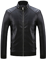 Men's Long Sleeve Casual Jacket,Polyester Solid Black