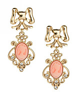 Europe Fashion New Design Pink Beauty Gem Earring 18K Gold Plated Hollow Flower Earrings For Women Party