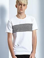 Tee-Shirt Pour des hommes A Motifs Décontracté Manches Courtes Coton Blanc