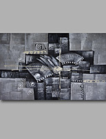 Stretched (Ready to hang) Hand-Painted Oil Painting 90cmx60cm Canvas Wall Art Modern Abstract Grey Black