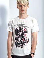 Herren T-shirt-Druck Freizeit Baumwolle Kurz-Weiß