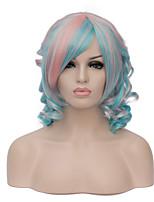 vogue européen courte rose mix bleu bang côté perruque sythetic partie bouclés pour les femmes