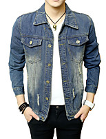 Men's Long Sleeve Casual / Plus Size Jacket,Cotton Solid Blue MF-1507