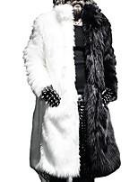 Men's Solid / Color Block Casual / Plus Sizes Trench coat,Faux Fur Long Sleeve-Black / White