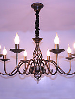 Retro contracted wrought iron lamp candle sitting room 8 pendant/sweep gold bronze lamps and lanterns