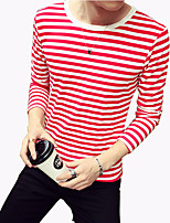 Men's Fashion Striped Round Collar Slim Fit Long-Sleeve T-Shirt, Casual/Plus Size