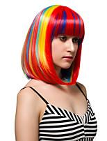 arcobaleno colorato i capelli corti, parrucche moda.