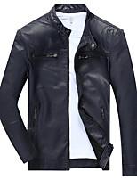 Vestes en Cuir Hommes,Couleur Pleine Décontracté / Quotidien Vintage / simple / Punk & Gothique Manches LonguesBleu / Rouge / Noir /