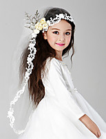 Flower Girl Wedding Veil One-tier Communion Veils Lace Applique Edge Tulle White White