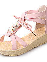 Women's Shoes PU Summer Creepers Sandals Casual Flat Heel Others / Lace-up Blue / Pink / Beige