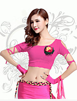 Belly Dance Tops Women's Training Milk Fiber Pleated 1 Piece Belly Dance Short Sleeve Natural