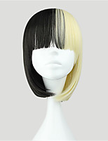 Cosplay wig Black and Blonde Short Straight Synthetic Sweet Lolita Wig Costume Wigs