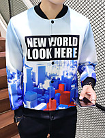 Men's Long Sleeve Casual / Plus Size Jacket,Polyester Print Blue