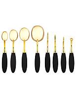 10Pcs Gold Oval Mastery Toothbrush Makeup Brush Set Professional Makeup Brushes Oval Makeup Brush