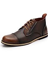 Черный Синий Темно-русый-Для мужчин-Повседневный-Кожа-На плоской подошве-Удобная обувь-Туфли на шнуровке