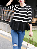 Women's Going out Street chic Regular Pullover,Striped Red / White Crew Neck ¾ Sleeve Spring / Fall Medium