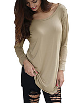 Women's Casual/Daily Sexy All Seasons T-shirt,Patchwork Round Neck Long Sleeve Red / Beige / Black Cotton / Rayon Thin