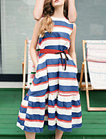 LIANGSANSHI Women's Casual/Daily Street chic Loose Dress,Striped Round Neck Midi Short Sleeve Blue / Pink Cotton Summer