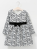Girl's Cotton Spring/Autumn Bowknot Waist Decoration Leopard Print Long Sleeve Princess Dress