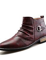 Men's Oxfords Formal Shoes Comfort Leather Spring Fall Outdoor Office & Career Casual Chunky Heel Burgundy Black White Flat