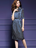 Women's Plus Size / Going out Street chic Sheath Dress,Print Shirt Collar Knee-length ½ Length Sleeve Blue Nylon Fall