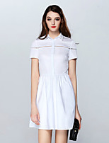 Boutique S Women's Casual/Daily Vintage Loose Dress,Solid Shirt Collar Above Knee Short Sleeve White Cotton Summer