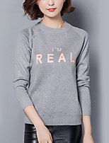 Women's Casual/Daily Simple Regular Pullover,Letter Gray Crew Neck Long Sleeve Cotton Fall Medium