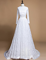 A-line Wedding Dress Sweep / Brush Train Jewel Lace with Lace / Ruffle / Sash / Ribbon