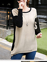 Women's Going out / Casual/Daily Street chic Regular Pullover,Color Block Brown Round Neck Long Sleeve Cotton